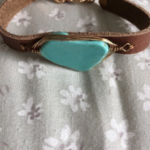 Brown Leather Bracelet with Blue Stone